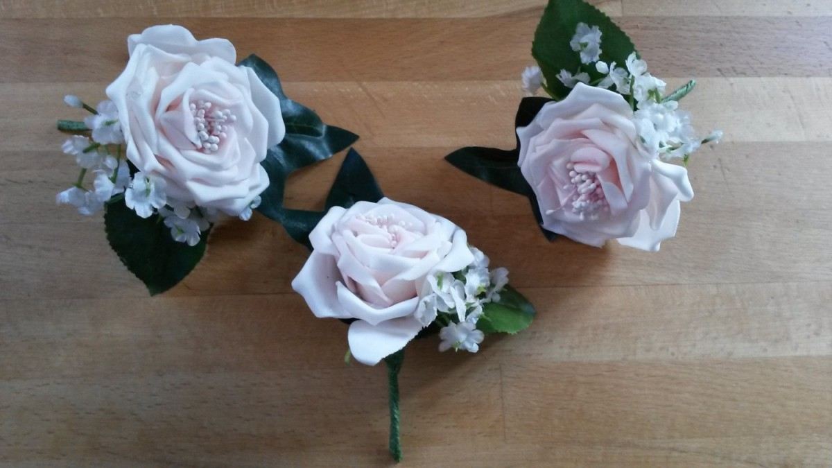 Artificial Silk Rose & Gypsophilia in the Buttonholes category