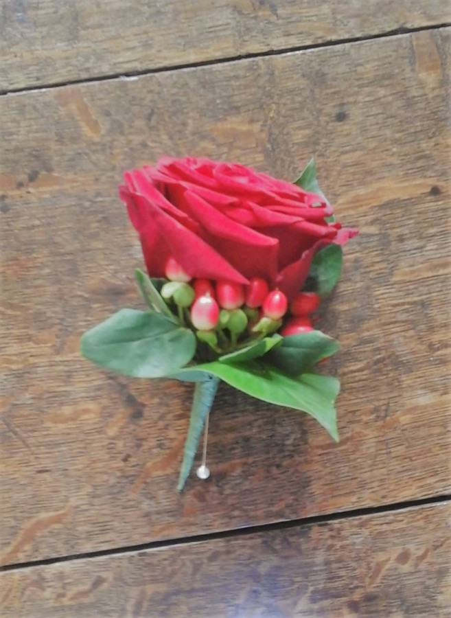 Red Rose & Hypericum Berry in the Buttonholes category