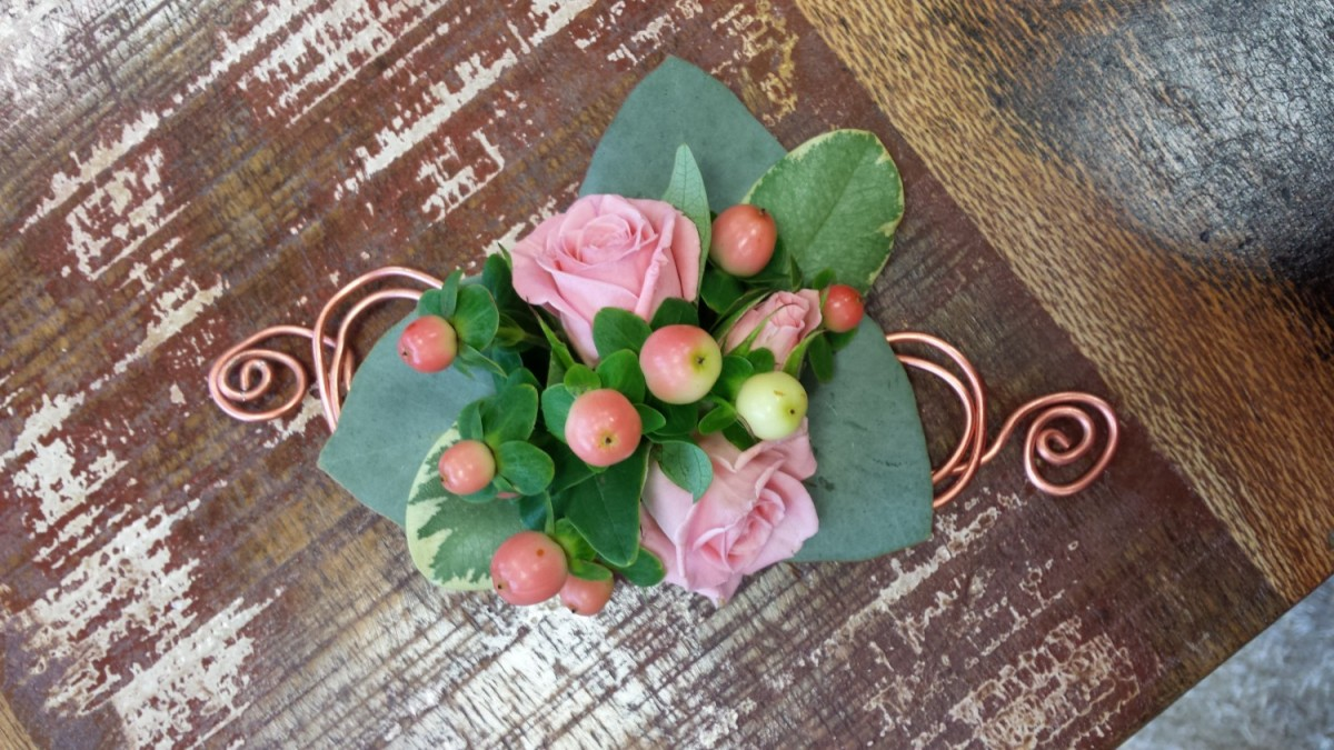 Spray Rose & Hypericum on Wire design in the Ladies buttonholes & Corsages category