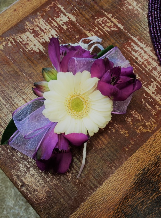 Germini, Freesia & Ribbon on a customised Wire base in the Ladies buttonholes & Corsages category