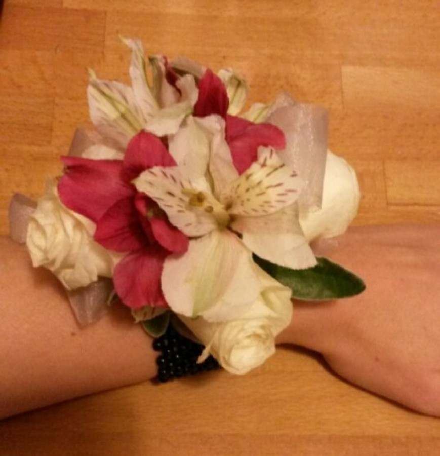 Pear Wrist corsage with Spray Rose & Alstromeria in the Ladies buttonholes & Corsages category