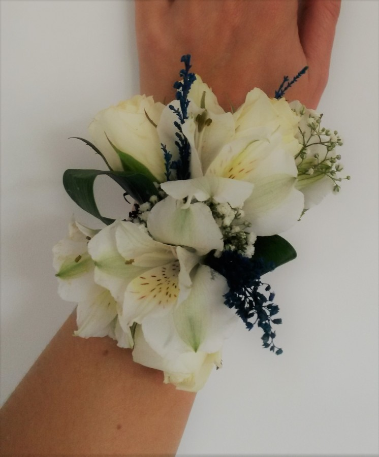 Ivory Pearl Corsage with Alstromeria, Spray Roses & Lavender in the Ladies buttonholes & Corsages category