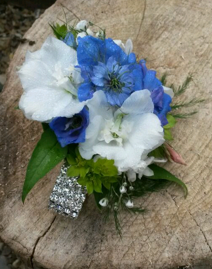 Diamante Corsage with Nigella, Delphinium and ruscus in the Ladies buttonholes & Corsages category