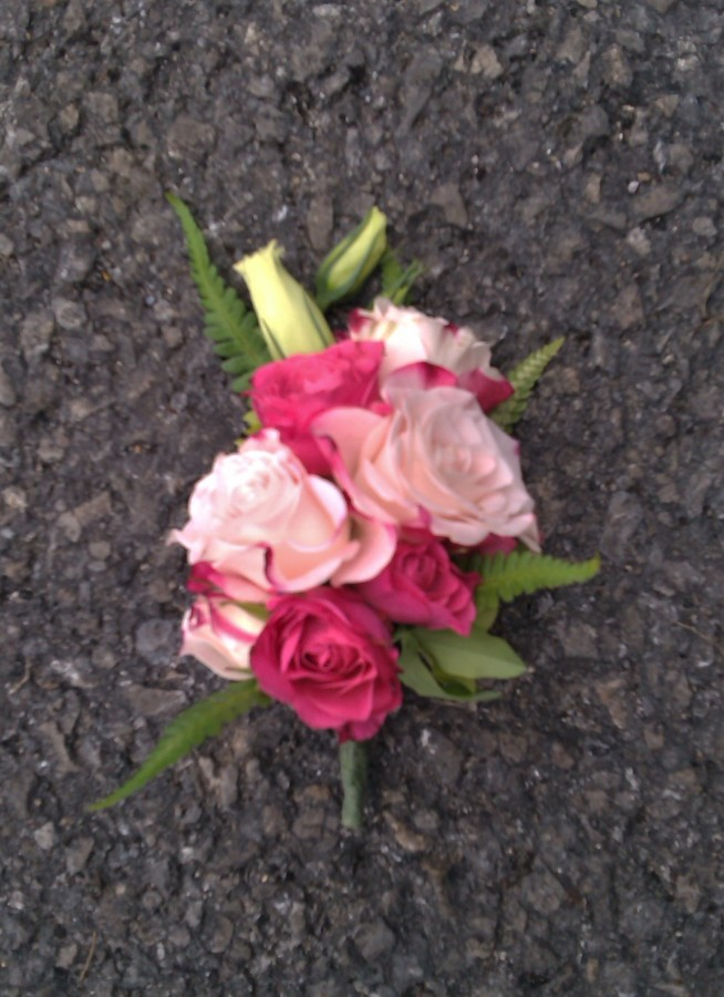 Lapel Corsage of Pink Spray Roses & Fern in the Ladies buttonholes & Corsages category