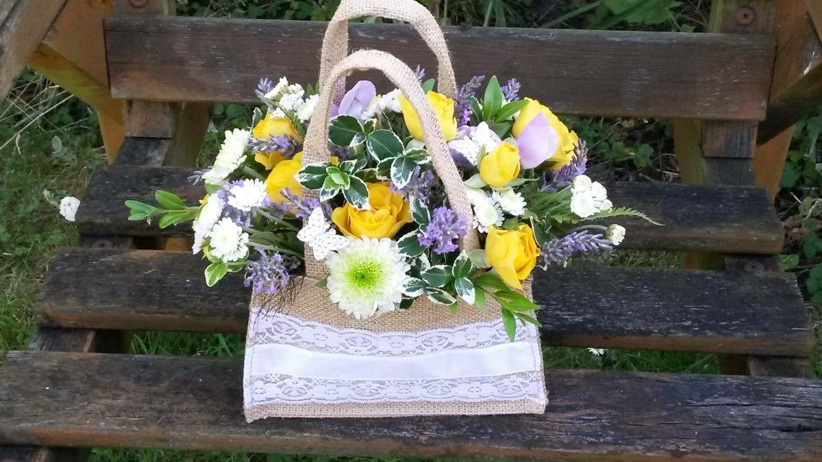 Floral Hessian bag sunny in the Oasis Arrangements category