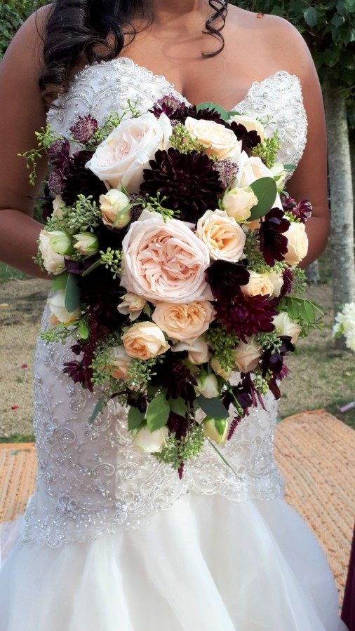Blush and burgundy in the Wedding Bouquets category